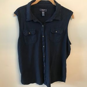 Chaps Navy Blue Sleeveless Button Down Blouse Top